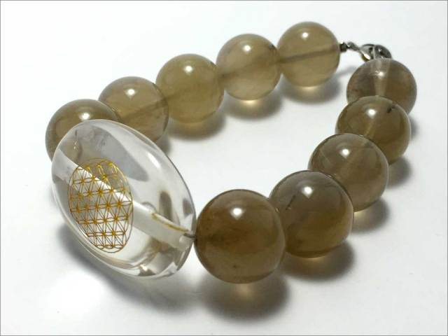 水晶 フラワーオブライフ&ルチルクォーツ 【PB141201070】