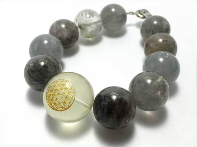 レモン水晶(左らせん)フラワーオブライフ&サゲニティッククォーツ 【PB141201073】