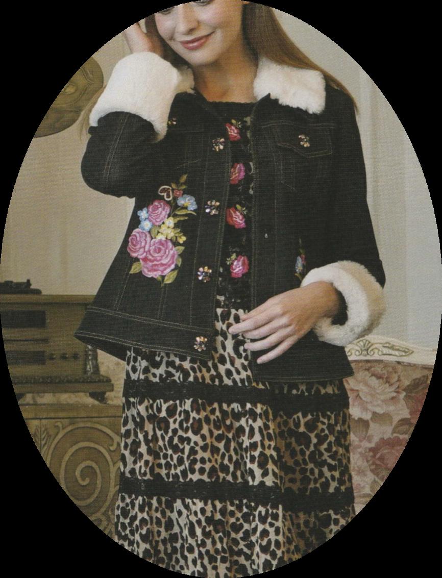 スーパービューティ 2019 秋冬物 ジャケット ストレッチデニム テンセル混 フラワー刺しゅう 【 1927002 】【カタログ掲載商品】