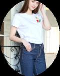スーパービューティ 2021 夏物 カットソー Tシャツ フルーツビーズ刺しゅう  【 2112005 】