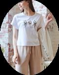 スーパービューティ 2021 夏物 カットソー Tシャツ フレンチスリーブ ソフトクリーム刺しゅう  【 2112006 】