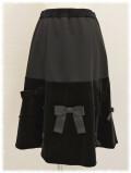 スーパービューティ スカート フレアースカート ベロア切替 リボン 秋物 2021 【2123006】
