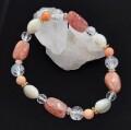 y.riche ブレスレット 天然石 ビーズ サンストーン サンゴ シェル 水晶 ワイリシェ 【y383】【ネコポス対応可】