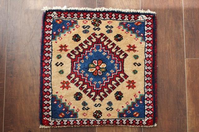 【送料無料】ヤラメのミニ絨毯(約40×40cm) 132