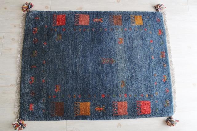 【送料無料】遊牧民のじゅうたん ギャッベ(玄関マットサイズ大 88×65cm) 872