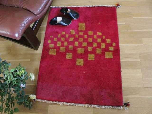 遊牧民のじゅうたん ギャッベ(ラグサイズ小 約98×80cm) 107