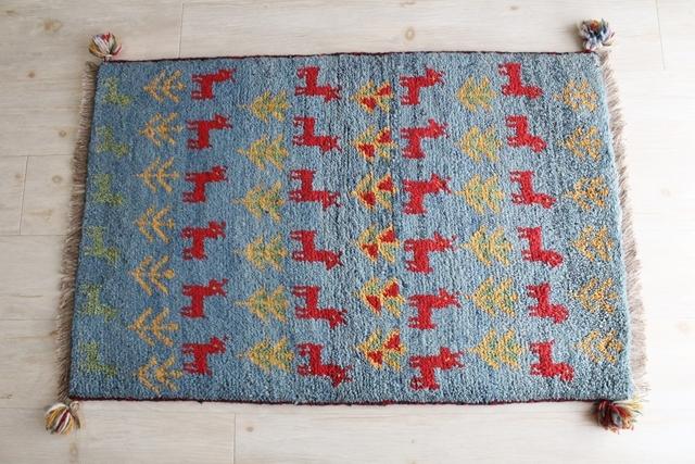 【送料無料】遊牧民のじゅうたん ギャッベ(玄関マットサイズ大 95×61cm) 140