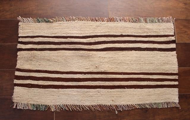 【送料無料】原毛2色ストライプのキリム(玄関マットサイズ中 92×47cm) 1503
