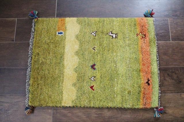 【送料無料】遊牧民のじゅうたん ギャッベ(玄関マットサイズ中 69×51cm) 219