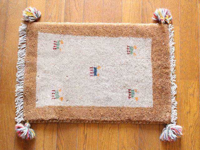 遊牧民のじゅうたん ギャッベ(玄関マットサイズ小 約60×40cm) 3448