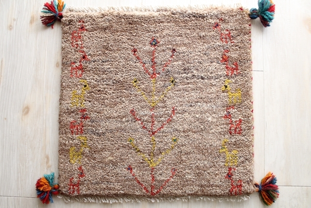 遊牧民のじゅうたん ギャッベ(約40×40cmサイズ) 456