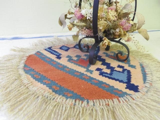 【高品質】ミニキリム/円形(手織り) ZA524