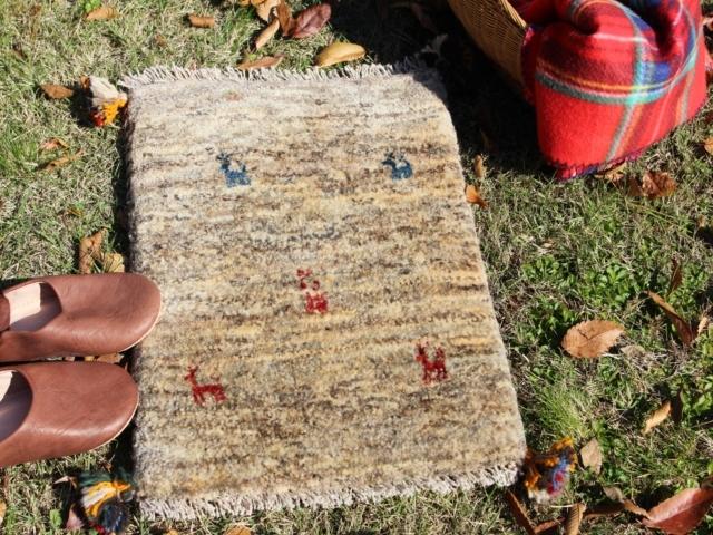 遊牧民のじゅうたん ギャッベ(玄関マットサイズ小 約60×40cm) 6129