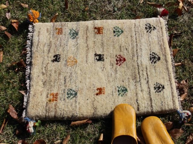 遊牧民のじゅうたん ギャッベ(玄関マットサイズ小 約60×40cm) 6173