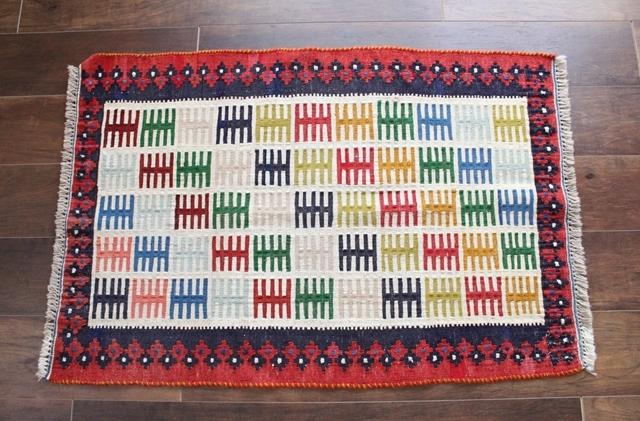 【送料無料】キリム (玄関マットサイズ中 96×66cm) 9984