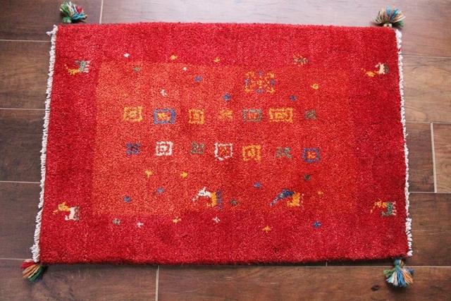 【送料無料】遊牧民のじゅうたん ギャッベ(玄関マットサイズ中 72×49cm) 9997