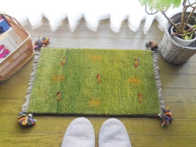 遊牧民のじゅうたん ギャッベ(玄関マットサイズ小 約60×40cm) P1223