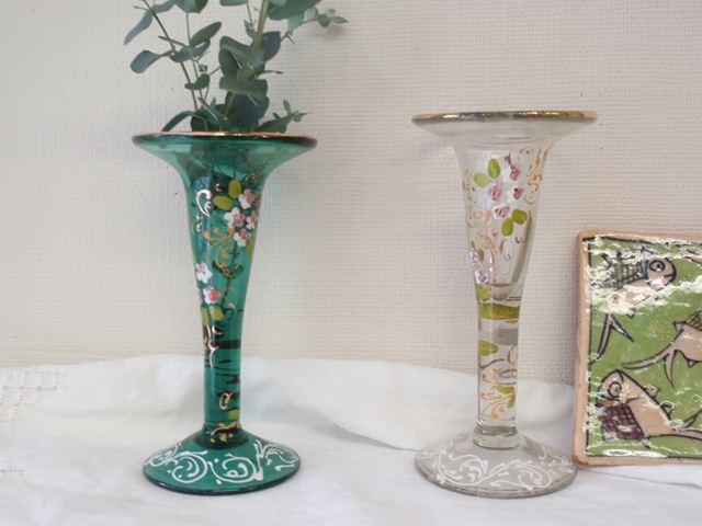 ペルシアン・グラスのキャンドルホルダー 花柄 (透明・緑) ZA071