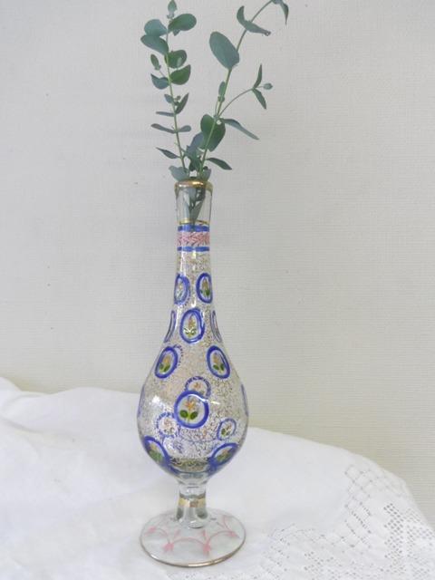 ペルシアン・グラスの花瓶 花柄 ZA073