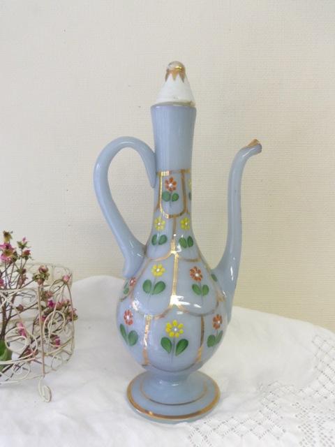 ペルシアン・グラスの水差し 花柄・水色 ZA083