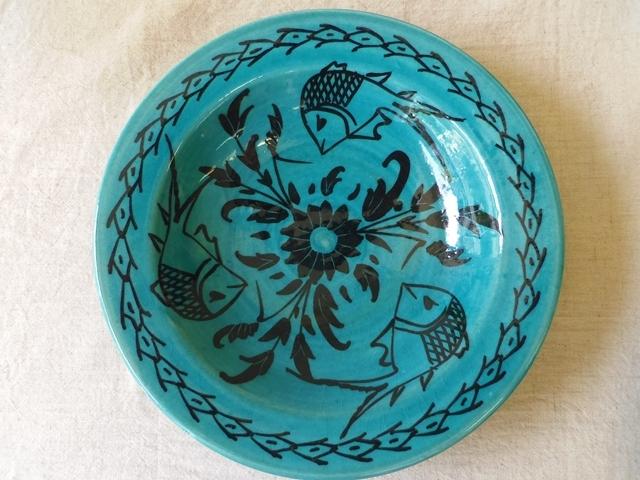 ペルシャ青釉 深皿(魚柄) ZA260