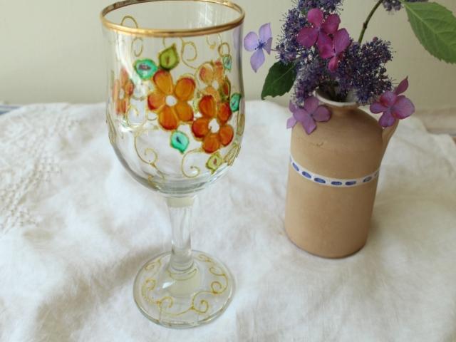 ワイングラス (花柄) ZA353
