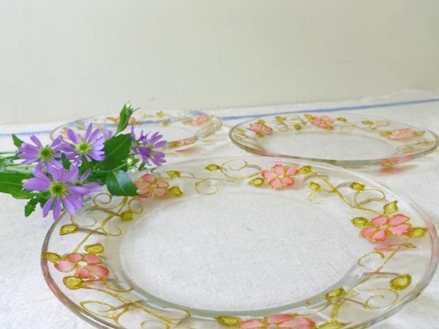 ガラス平皿 (花柄) ZA354