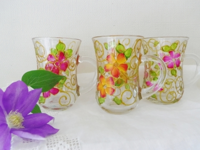 チャイグラス取手付き(花柄) ZA370