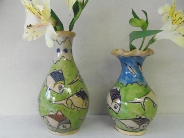 おさかな模様 陶器の花瓶 ZA440