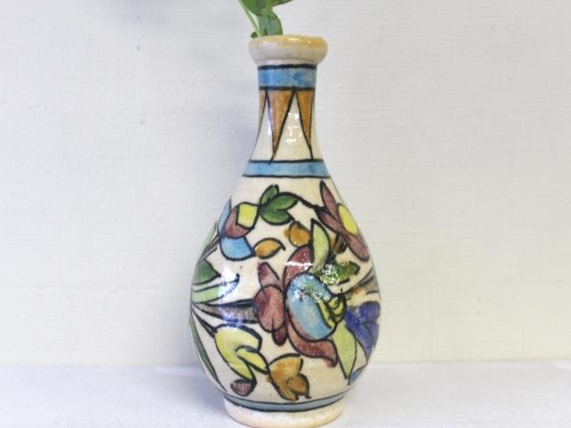 花模様 陶器の花瓶 ZA449