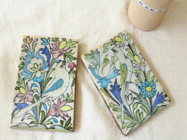 花&鳥模様 陶器のタイル(長方形) ZA452