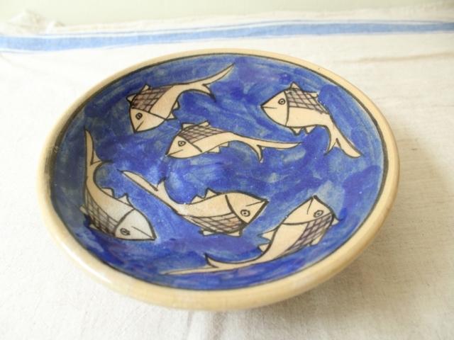おさかな模様 陶器のお皿(大) ZA490