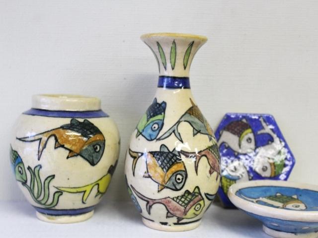 おさかな模様 陶器の花瓶 ZA441