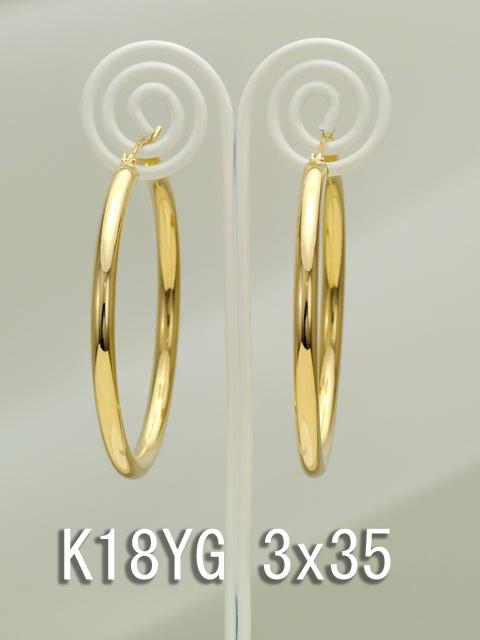 イエローゴールドフープピアス/3x35/K18YG