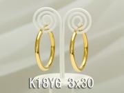イエローゴールドフープピアス/3x30/K18YG