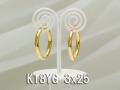 イエローゴールドフープピアス/3x25/K18YG