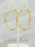 イエローゴールドフープピアス/3x40/K18YG