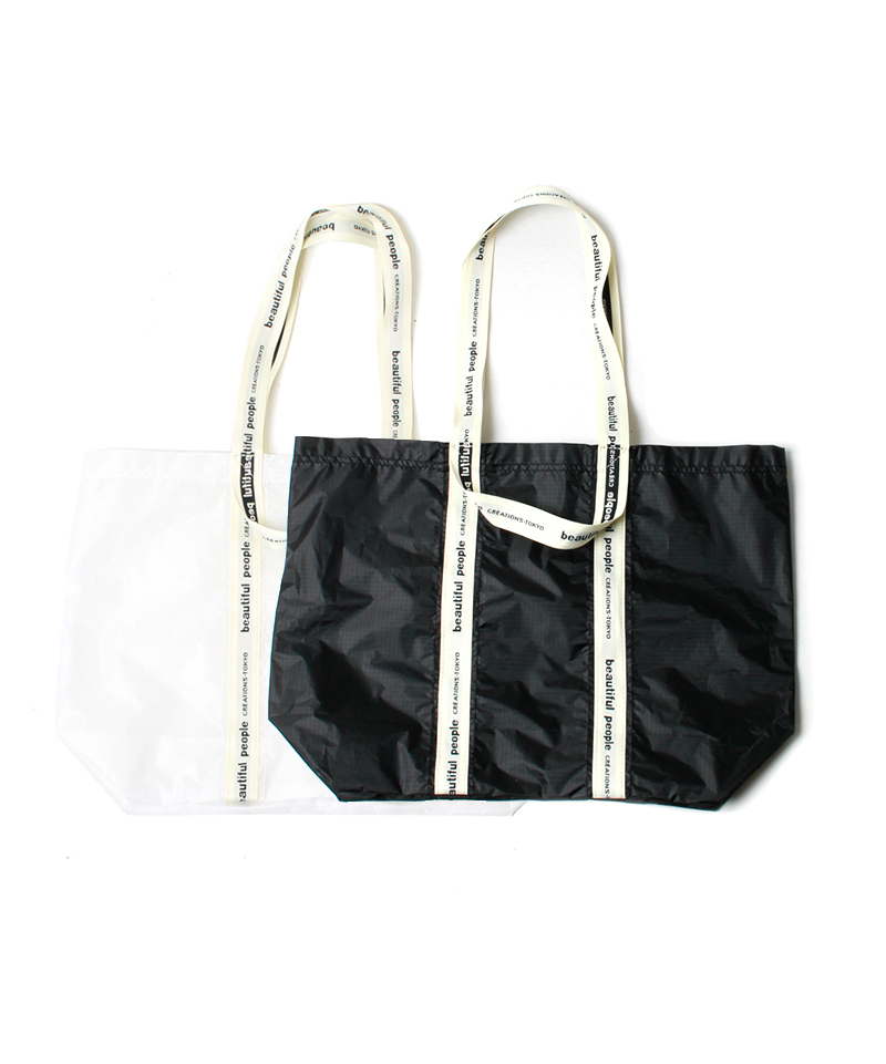 beautiful people SAIL CLOTH LOGO TAPE TOTE white