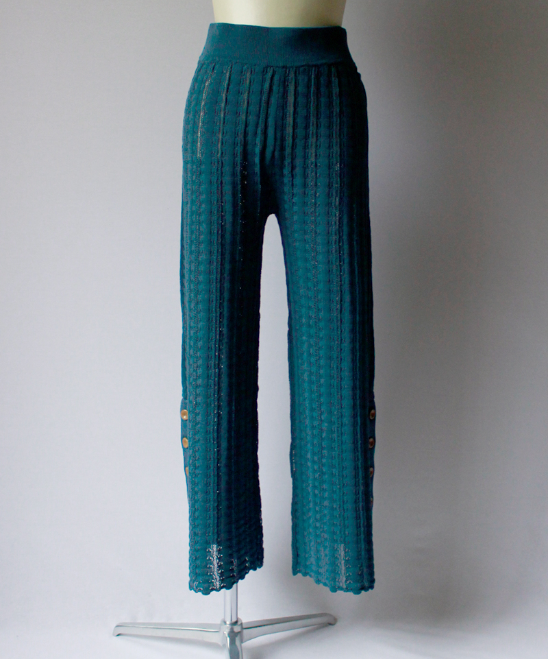 Uhr CROCHET KNIT PANTS slate blue