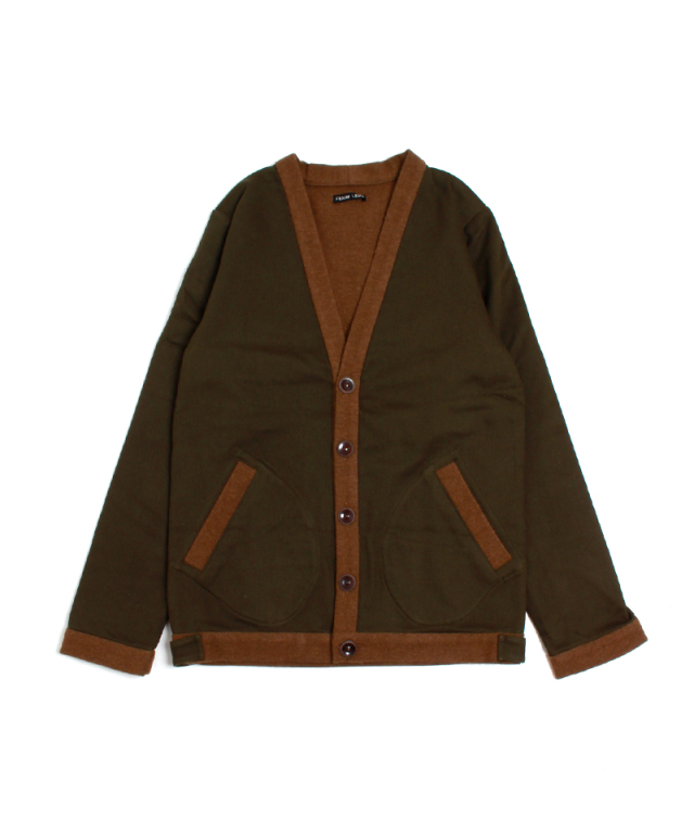 FRANK LEDER OLIVE / BROWN WOOL CARDIGAN