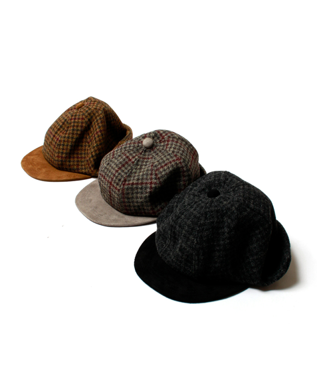 Hender Scheme TWEED EAR CAP black/gray