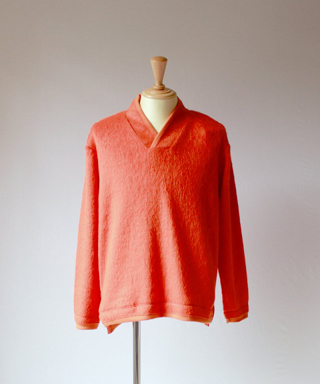 CURLY TRIM SHAGGY SWEATER orange