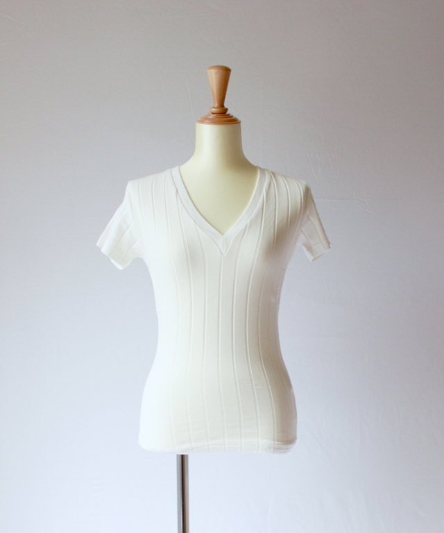 YOUNG & OLSEN BROAD RIB V NECK white