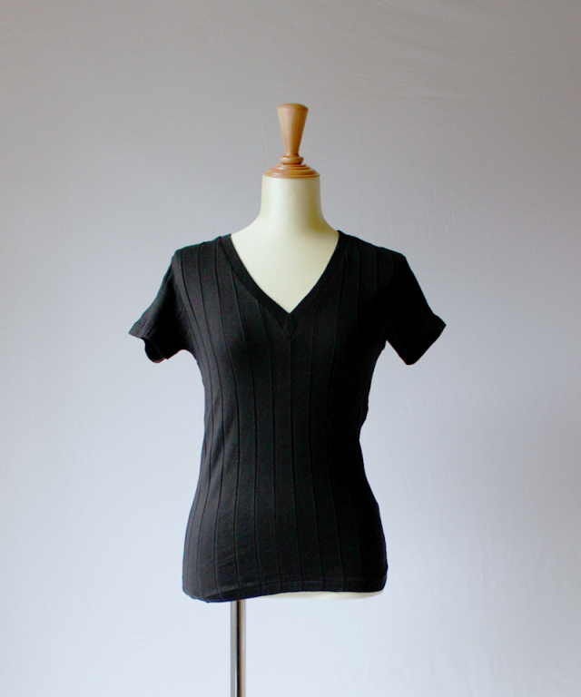 YOUNG & OLSEN BROAD RIB V NECK black
