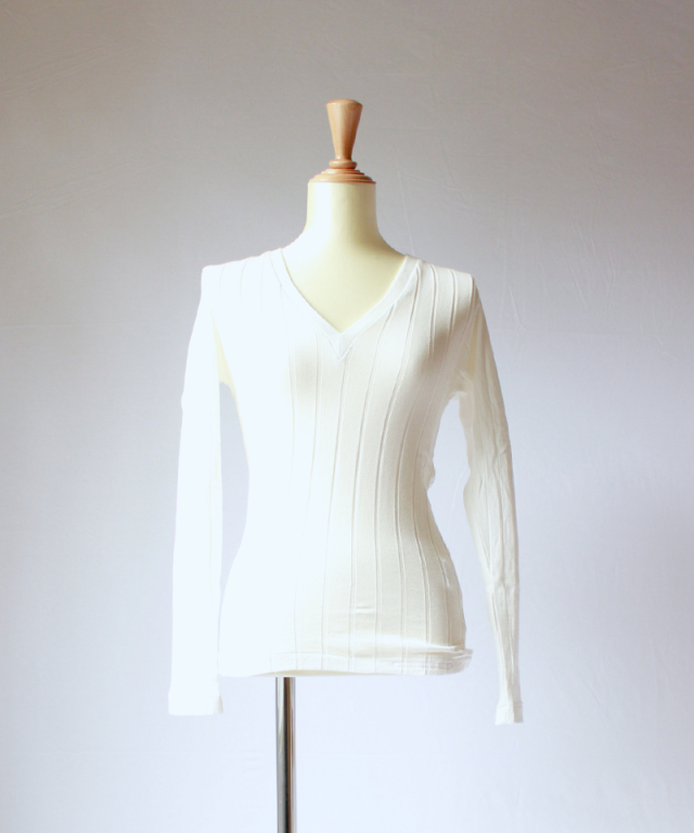 YOUNG & OLSEN BROAD RIB V NECK LS white