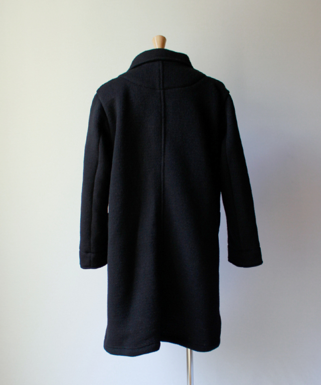 CURLY MISTY SHAWL COAT black