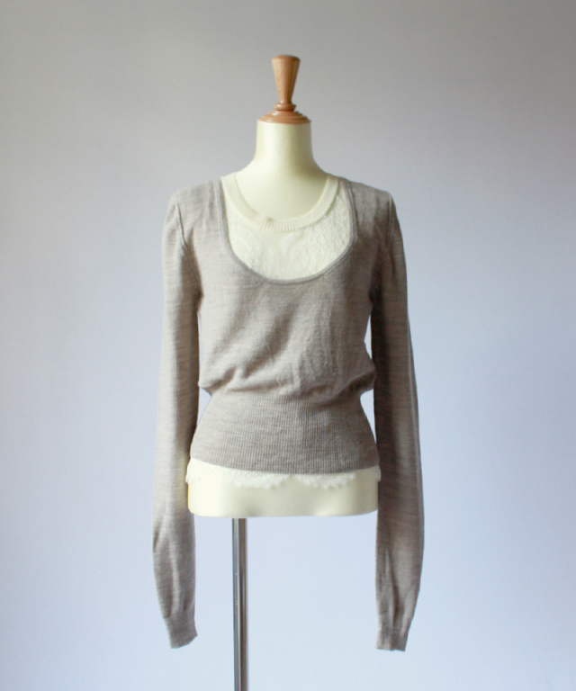babaco LEAVERS LACE LAYERED PULLOVER sand beige