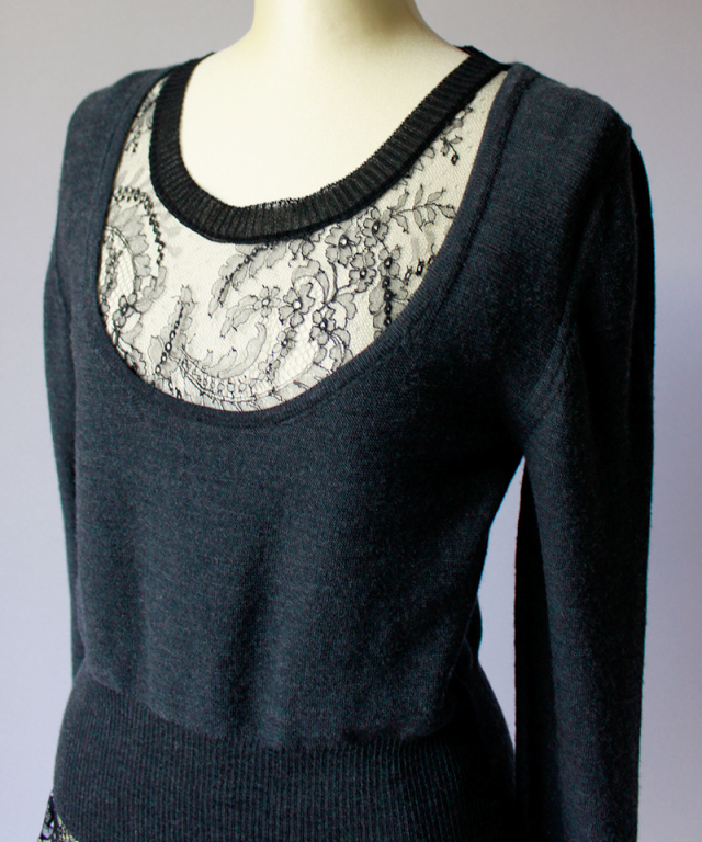 babaco LEAVERS LACE LAYERED PULLOVER charcoal grey