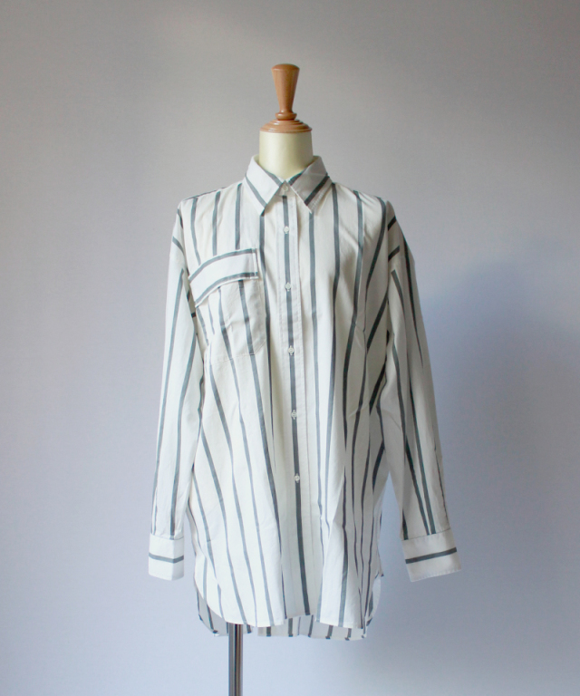 UNUSED STRIPE SHIRT white x gray - Ladys