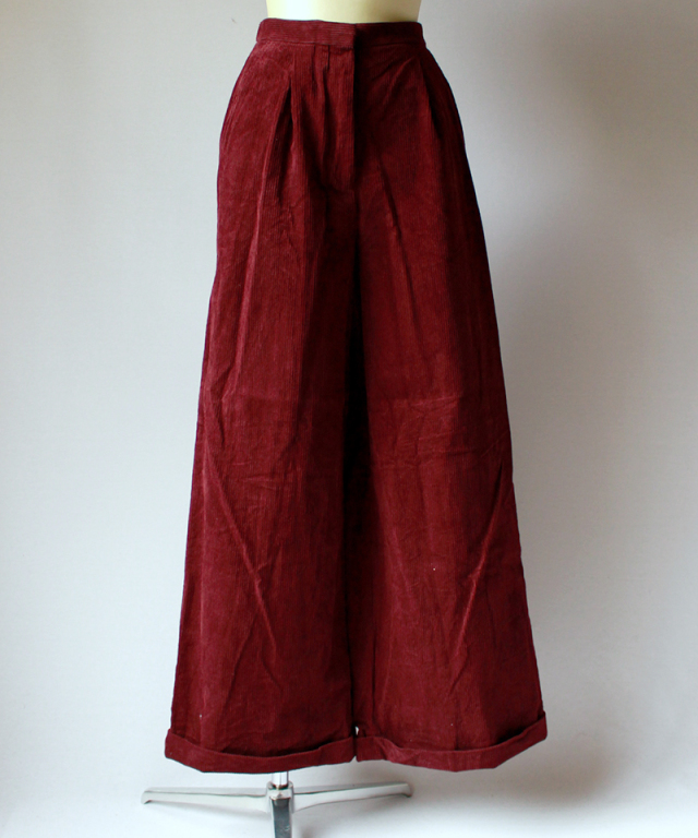 UNUSED CORDUROY PANTS bordeau